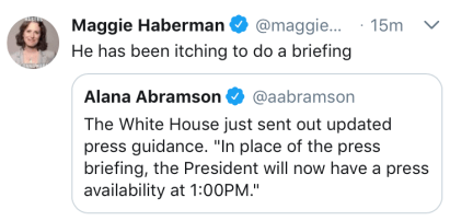 Tweet saying that the President will give a press availability at 1 pm