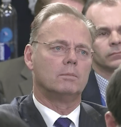Canadian reporter's long-suffering face as he listens to Sarah Sanders talk about NAFTA